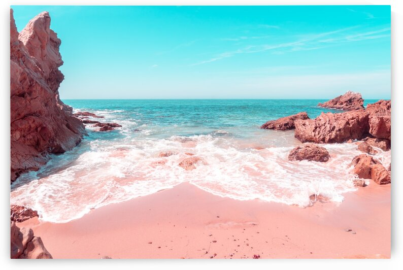 Transcending Reality - Rocky Beachscape in Coral Pink and Turquoise by GeorgiaM