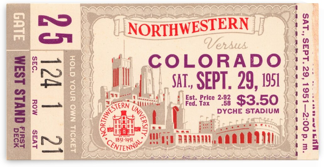1951 Northwestern vs. Colorado by Row One Brand