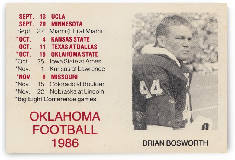 1986 Oklahoma Football Brian Bosworth by Row One Brand