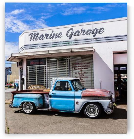 Marine Garage and Chev Pickup Truck by bj clayden photography