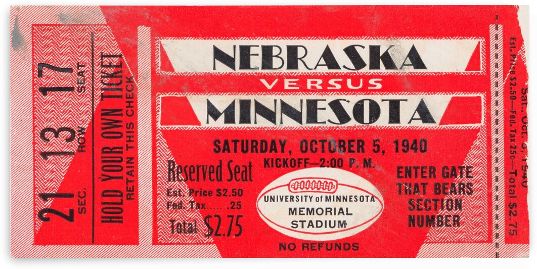 1940 Nebraska vs. Minnesota by Row One Brand