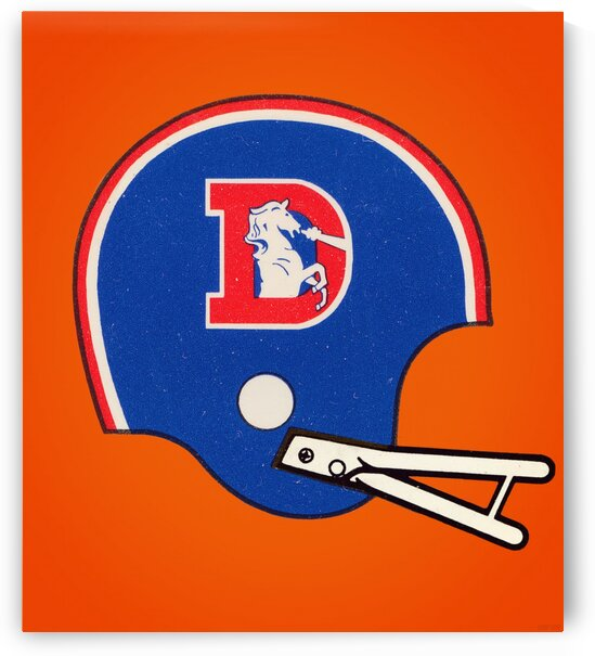 1982 Denver Broncos Football Helmet Art by Row One Brand