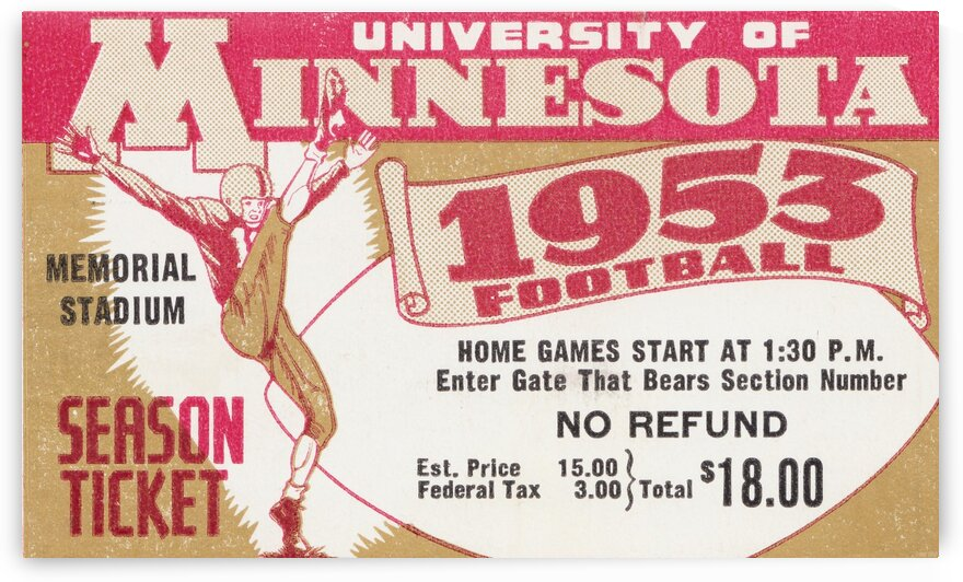 1953 Minnesota Season Ticket by Row One Brand