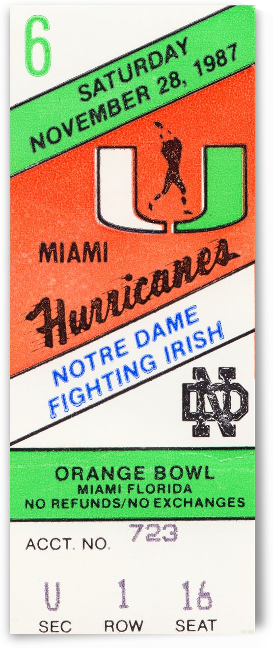 1987 Miami vs. Notre Dame by Row One Brand
