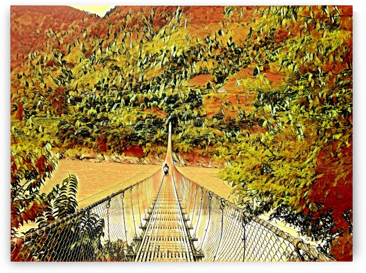 BRIDGE CROSSING - Nepal by Robert David Concienne