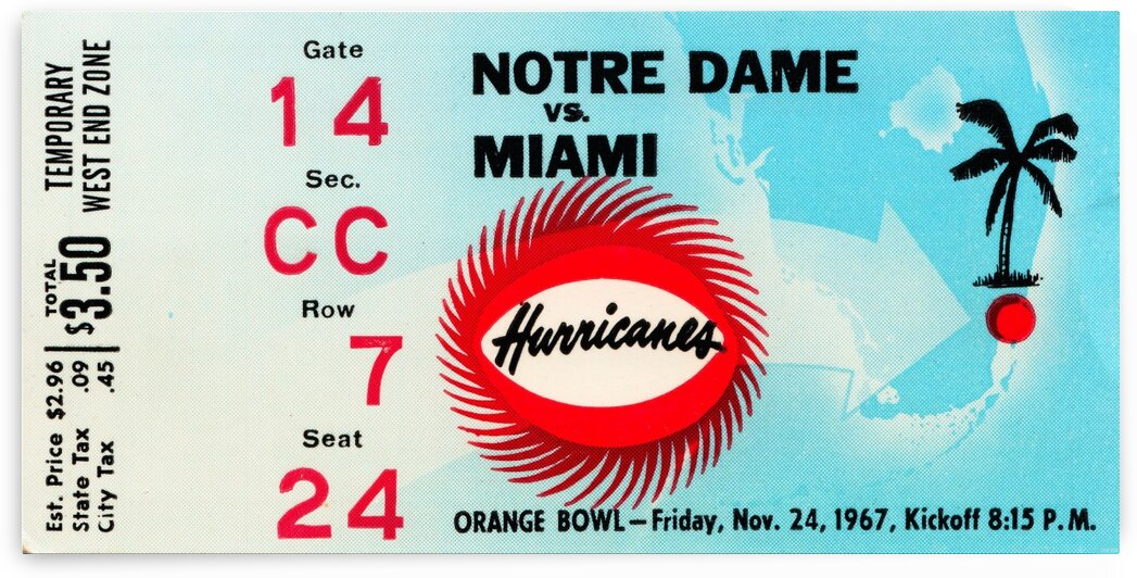 1967 Notre Dame vs. Miami by Row One Brand