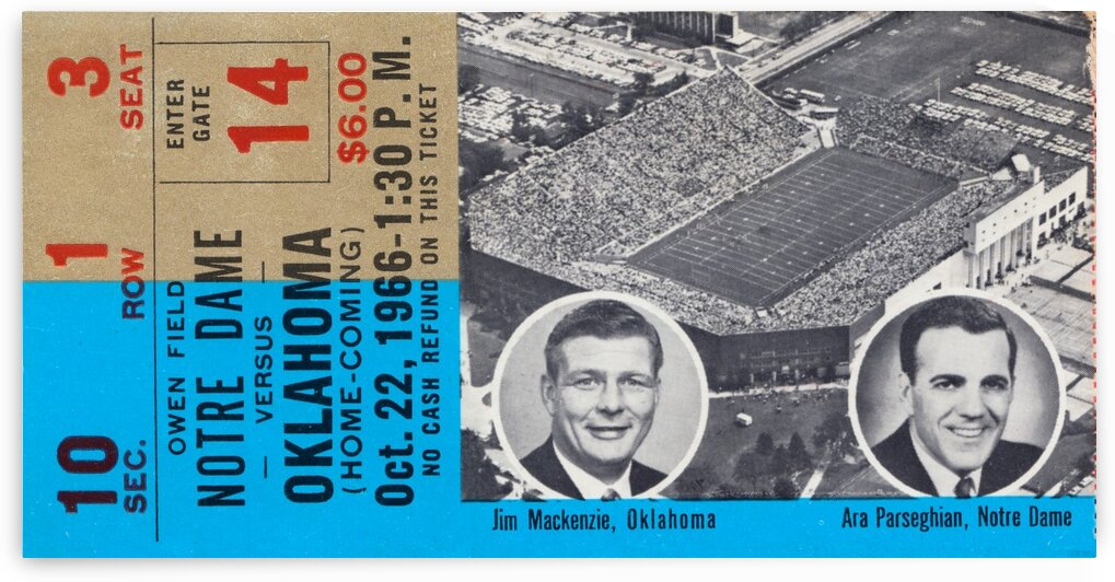 1966 Oklahoma vs. Notre Dame by Row One Brand