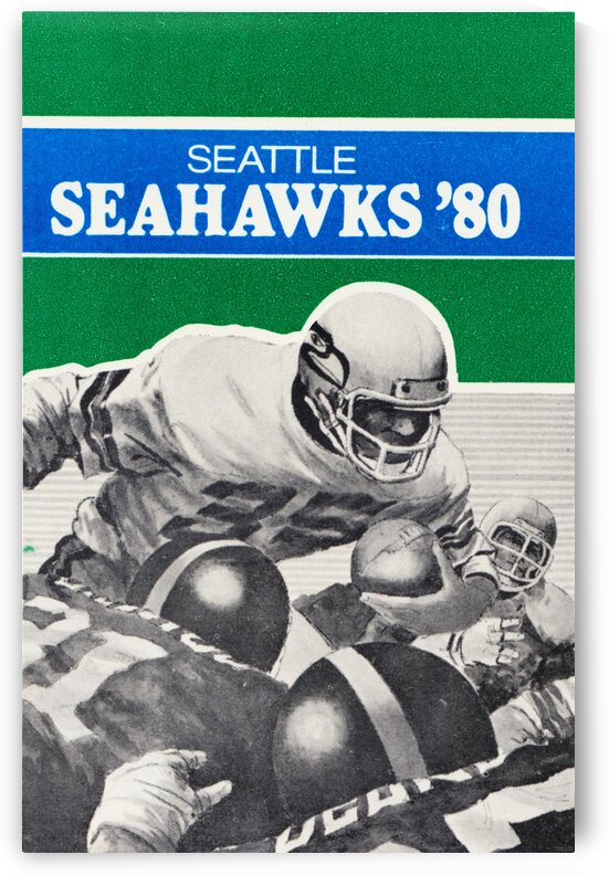 1980 Seattle Seahawks Football Art by Row One Brand