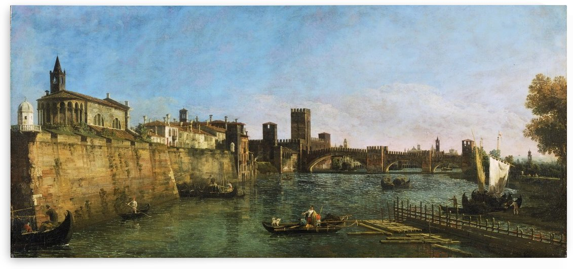 View of Verona with the Castelvecchio and Ponte Scaligero by Canaletto