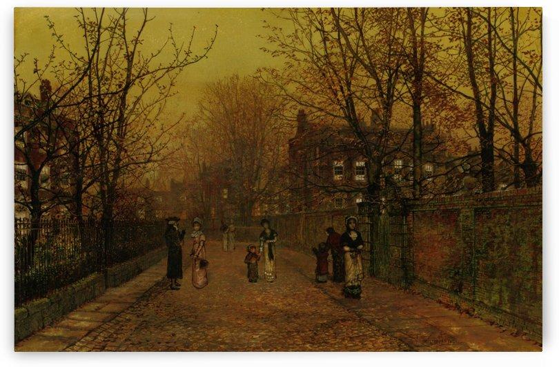 A Village Street on Sunday Eve by John Atkinson Grimshaw