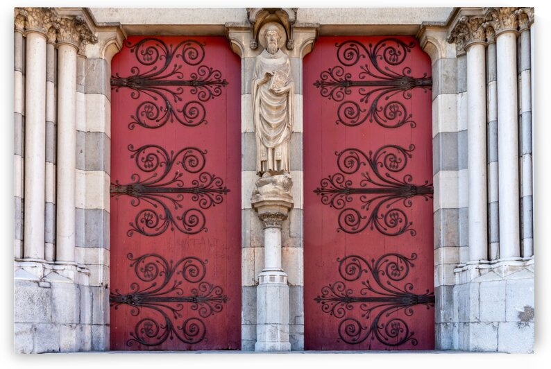 Red Church Doors in Provence by bj clayden photography