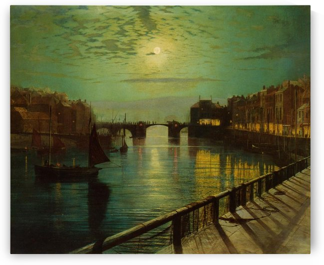 Whitby Harbor by Moonlight by John Atkinson Grimshaw