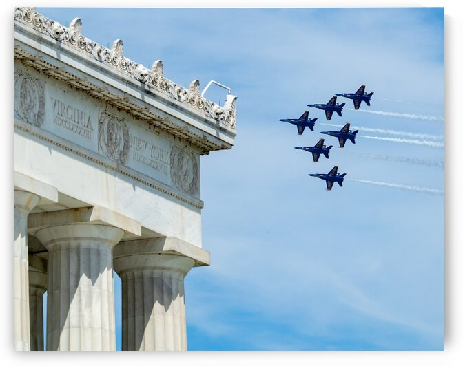 US Navy Blue Angels Fly Over Lincoln Memorial by Robert Blakley
