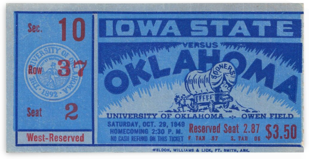 1949 Oklahoma vs. Iowa State by Row One Brand