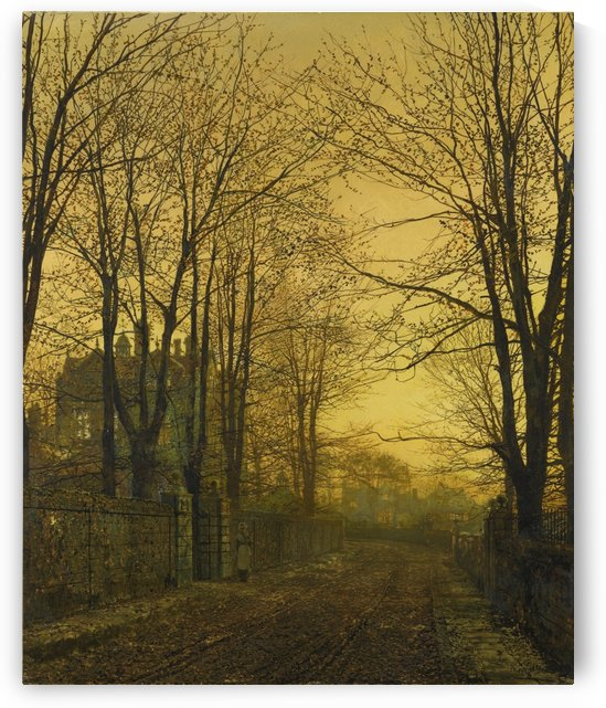 Autumn view with figure by John Atkinson Grimshaw