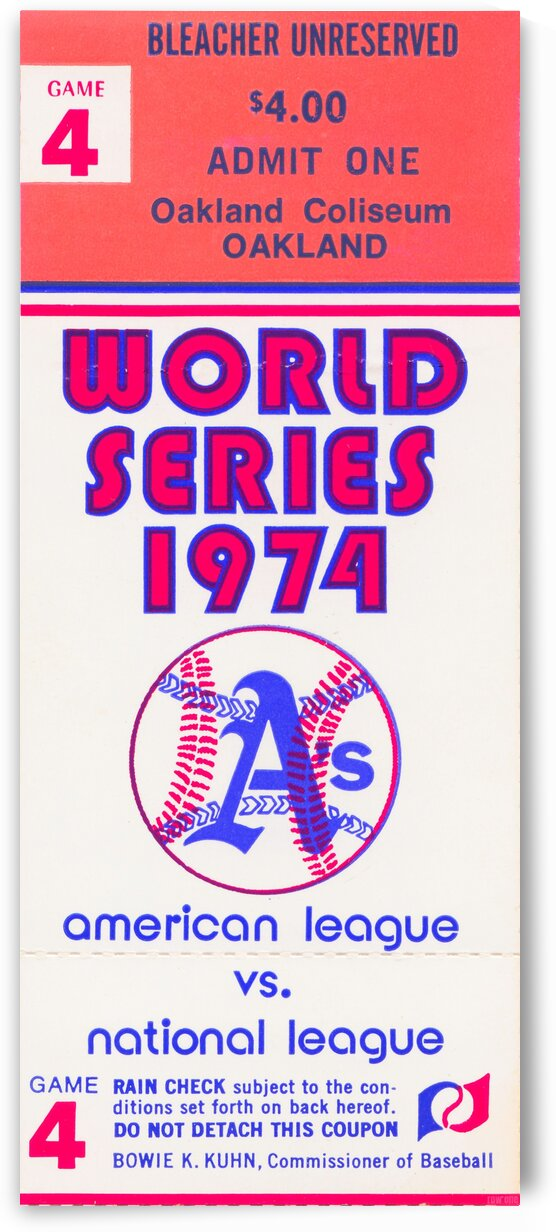 1974 World Series Oakland Athletics Ticket by Row One Brand
