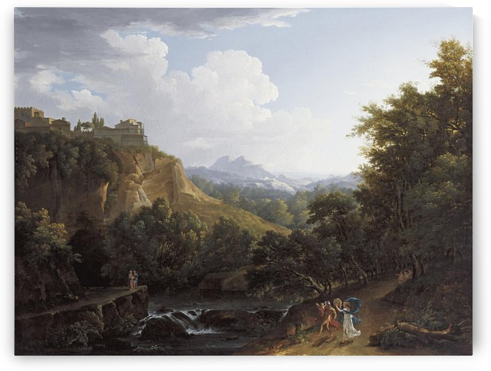 Arcadian landscape with a couple and child dancing on a path by a river by Nicolas Antoine Taunay