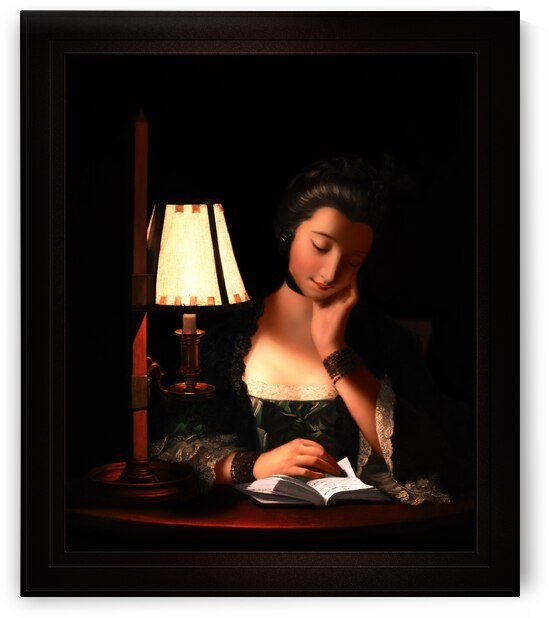 Woman Reading By A Paper Bell Shade by Henry Robert Morland Old Masters Classical Art Reproduction by xzendor7