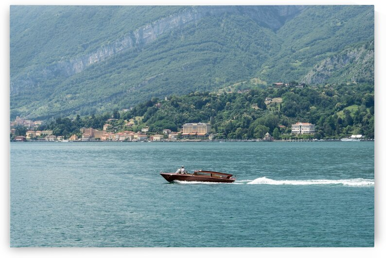 Powerboating Across Lake Como - Wooden Power Boat and Tremezzo Village by GeorgiaM