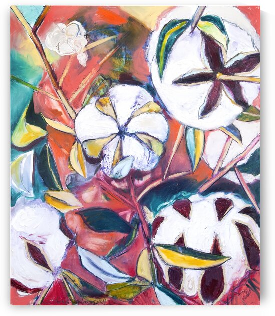 Louisiana Cotton Bolls Abstraction by Caroline Youngblood