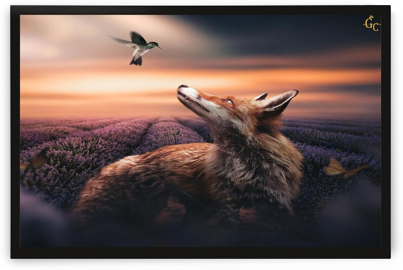 Beautiful Dog with Bird by Graphic consilio
