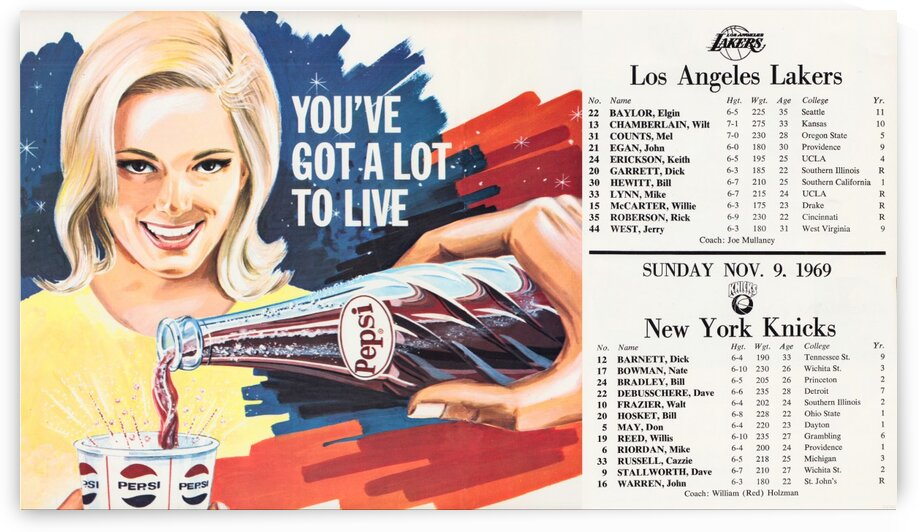 1969 Vintage Pepsi Ad Lakers vs. Knicks by Row One Brand