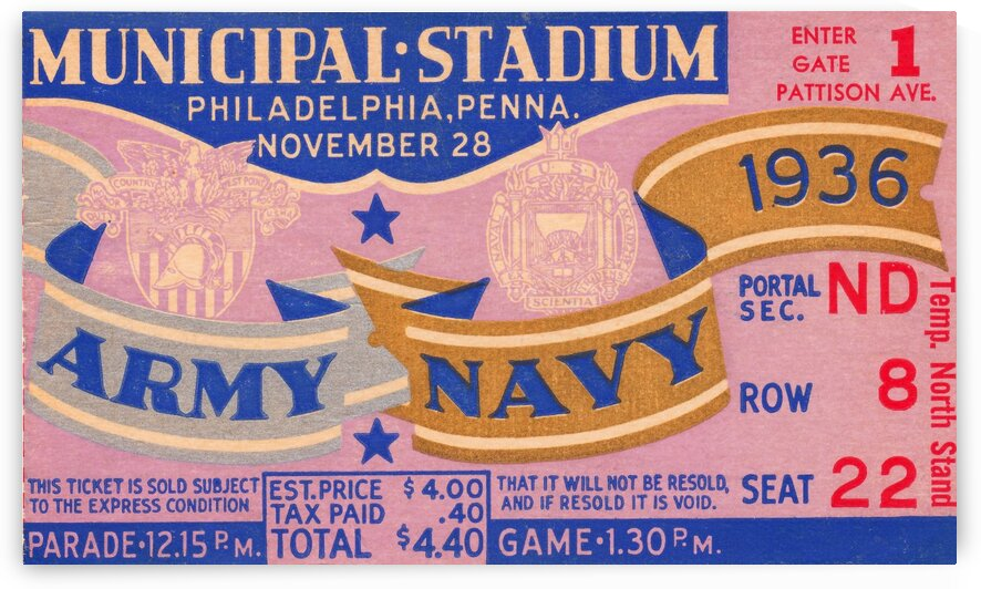 1936 Army Navy Game by Row One Brand