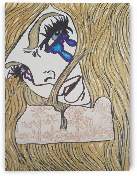 Girl crying in gold by Betojimenez