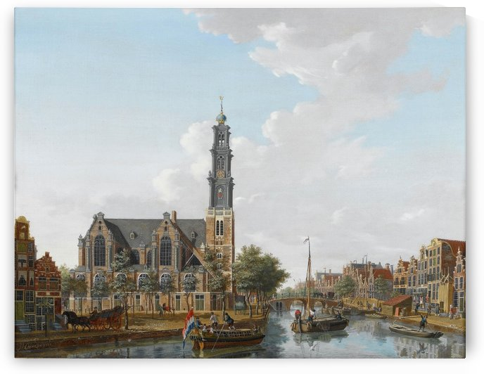 A view of the Westerkerk seen from the Prinsengracht, Amsterdam by Isaac Ouwater