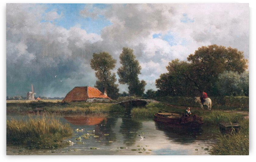 Tying up the boat near the farm by Willem Roelofs