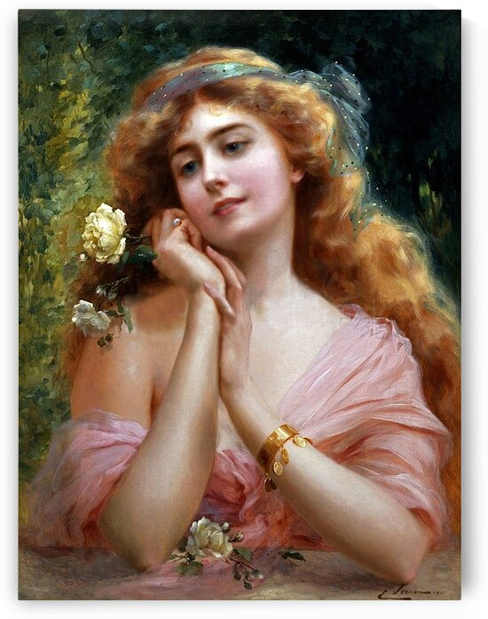 Beautiful Elegant Lady In Pink With Yellow Rose_OSG by One Simple Gallery
