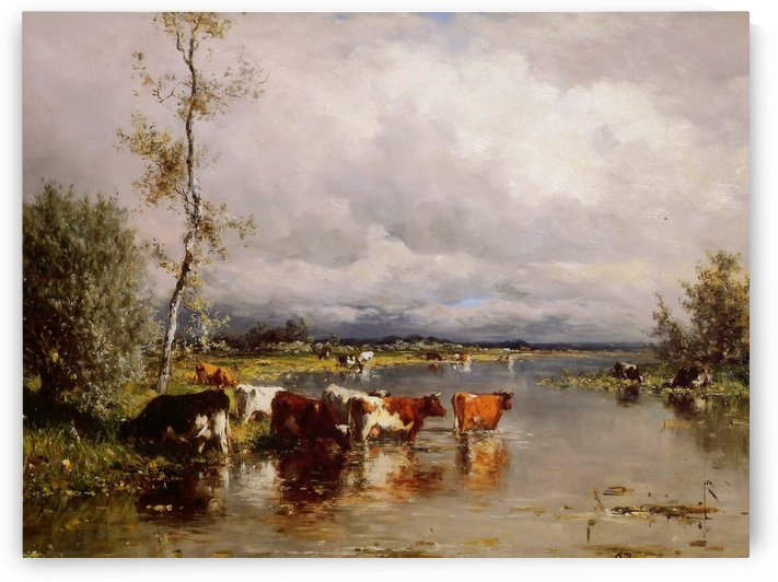 River landscape with cows Sun by Willem Roelofs