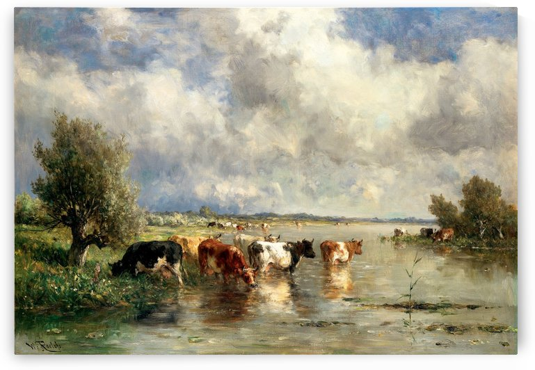 River landscape with cows by Willem Roelofs