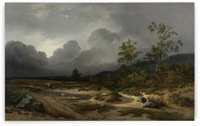 Landscape in an approaching storm by Willem Roelofs