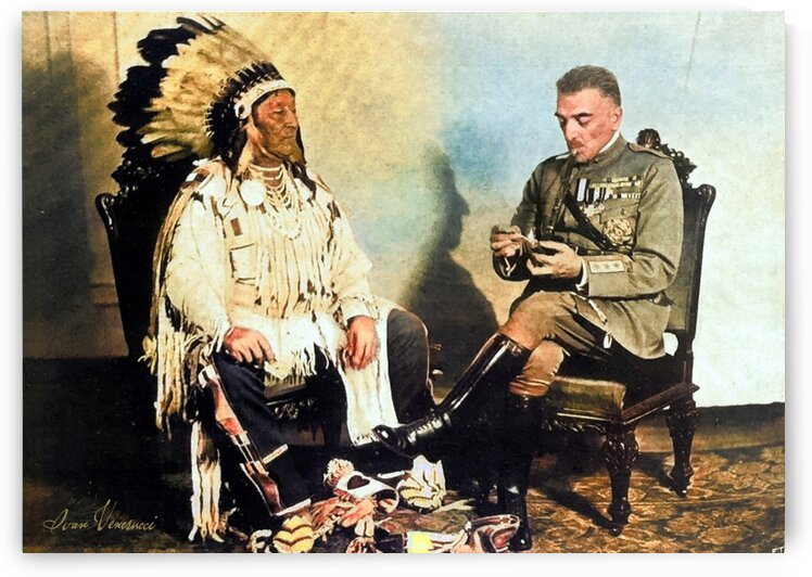 Armando Diaz with the Indian chief Crow in Washington in 1921 by Ivan Venerucci Italian Style