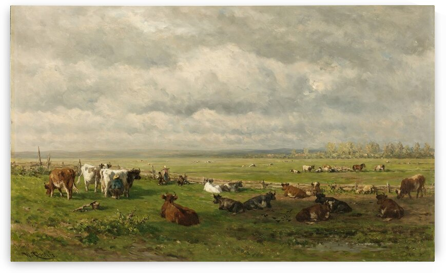 Meadow Landscape with Cattle by Willem Roelofs