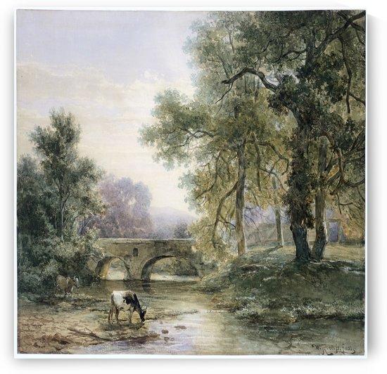 Boomrijk landschap met stenen brug over een rivier by Willem Roelofs
