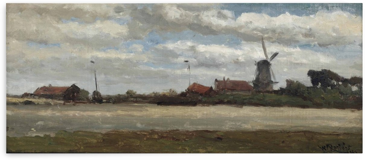 A polder landscape with a mill by Willem Roelofs