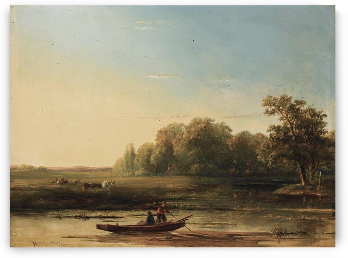 A Summer landscape with fishermen in a boat by Willem Roelofs