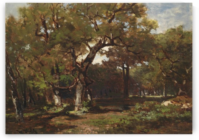 A wooded landscape by Willem Roelofs