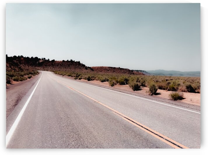 Road with the desert view and blue sky in California USA by TimmyLA