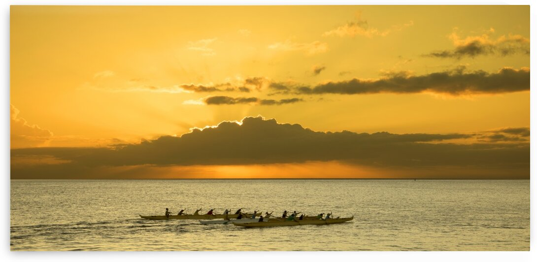 Long Canoes at Sunset by 360 Studios