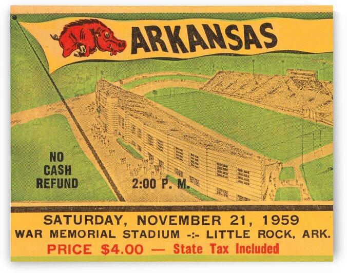 1959 Arkansas Football Ticket Art by Row One Brand