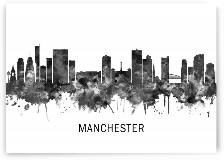 Manchester England Skyline BW by Towseef Dar