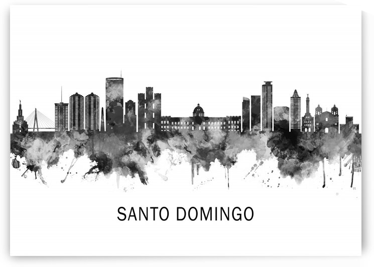 Santo Domingo Dominican Republic Skyline BW by Towseef Dar