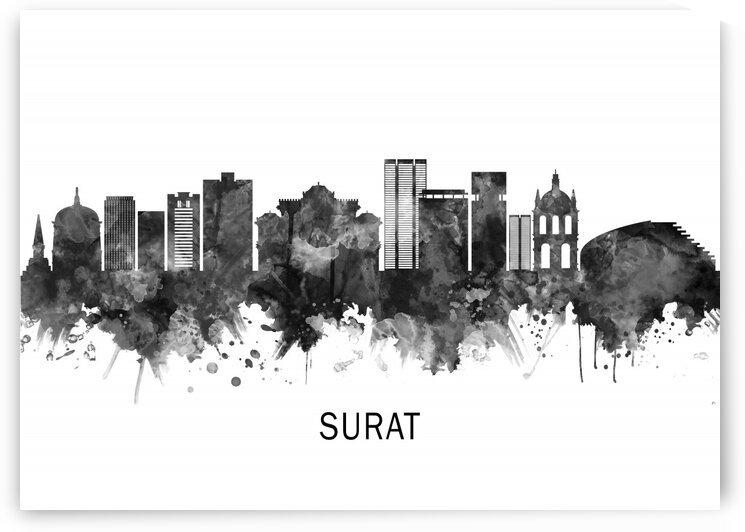Surat India Skyline BW by Towseef Dar