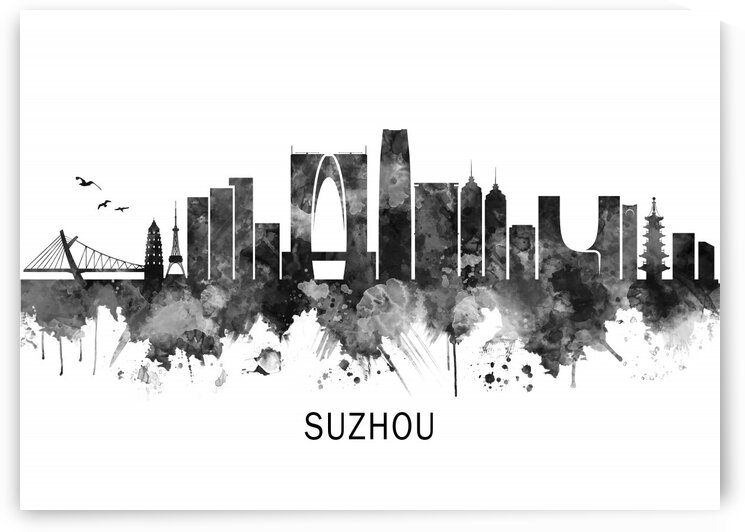 Suzhou China Skyline BW by Towseef Dar