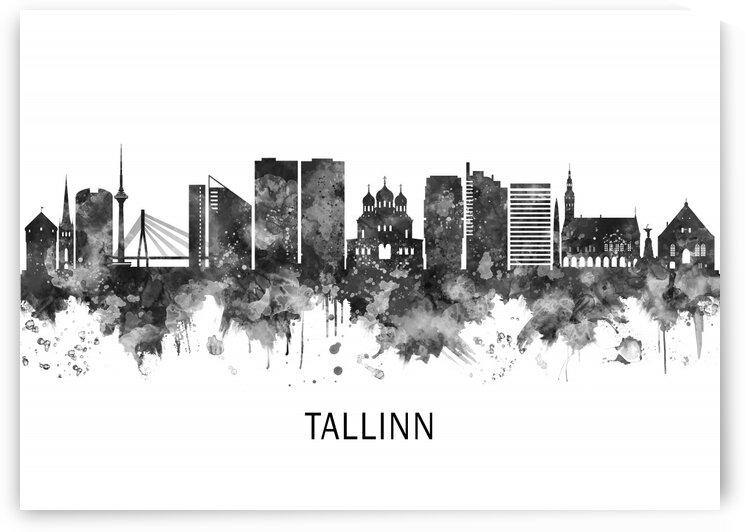 Tallinn Skyline BW by Towseef Dar
