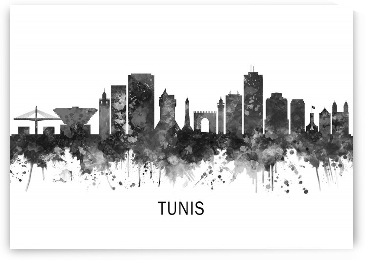 Tunis Tunisia Skyline BW by Towseef Dar