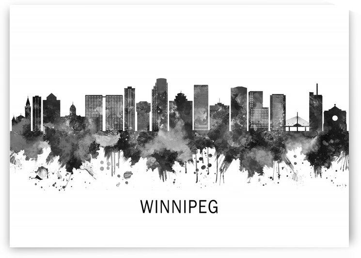 Winnipeg Manitoba Skyline BW by Towseef Dar